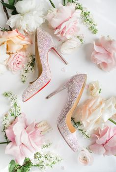 The bride was on point with these stunning crystal shoes. For more inspiration from this wedding check out our blog by following the link! Wedding Attire, Wedding Shoes, Wedding Events, Weddings, Rosewood Hotel, Crystal Shoes, Georgia Wedding, Touch Of Gold, Gold Set