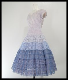 blue lace tiered ruffles.... I would totally wear this... and twirl and twirl and twirl