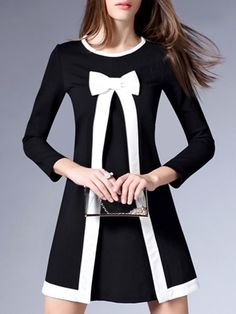 Hot Crew Neck Bowknot Assorted Colors Patchwork Shift-dress Shift Dresses from fashionmia.com