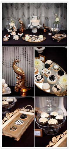 Elegant Dessert Table in Black White & Gold