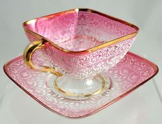 Moser Art Glass Pink to Clear Cup with Saucer - White Enamel & Gold in Pottery & Glass, Glass, Art Glass Teapots And Cups, Teacups, China Tea Cups, My Cup Of Tea, Vintage Tea, Vintage Pink, Tea Cup Saucer, Tea Time, Vases