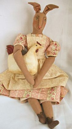 Spring bunny~primitive doll by Annie Beez