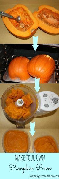 Tutorial for making your own pumpkin puree from your garden (or Halloween) pumpkins | SixFiguresUnder.com