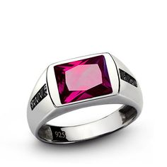 Classic Men's Ruby Ring in 925 Sterling Silver with Black Onyx Accents
