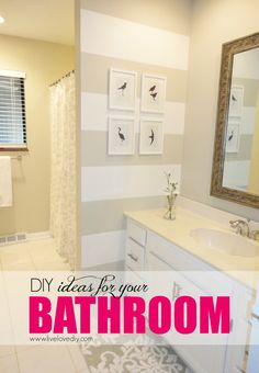 Diy How To Paint Stripes On A Wall A 200 Bathroom