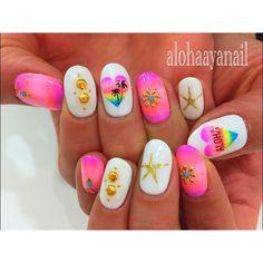 WEBSTA @ alohaaya26 - 💗友達のnail💗*ハートALOHA🌴*#ネイル#nail#nails#nailart#aloha#palmtree#shell#starfish#アロハ#ヤシの木#シェル#ヒトデ#ターコイズ