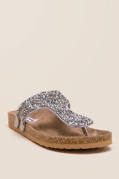 22b2967606e9ff Not Rated Bushy Glitter Thong Footbed Sandal Sandals Outfit