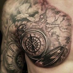 Compass With Map Tattoo On Front Shoulder And Chest Map Tattoos, Sleeve Tattoos, Sextant Tattoo, Nautical Tattoo Sleeve, Atlas Tattoo, Karten Tattoos, Compass Tattoo Design, Compass And Map Tattoo, Map Compass