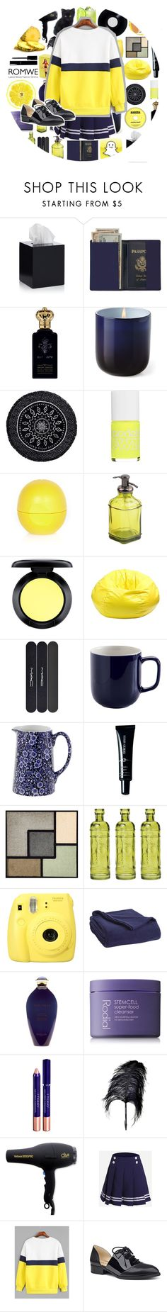 """Blue and Yellow with ROMWE"" by phaedra-solaris ❤ liked on Polyvore featuring Jonathan Adler, Royce Leather, Clive Christian, The Beach People, Models Own, River Island, MAC Cosmetics, Gold Medal, Price & Kensington and Burleigh"
