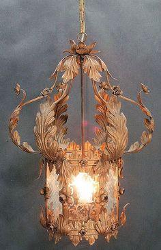 missingsisterstill: Very Ornate, Vintage Tole Lantern Chandelier