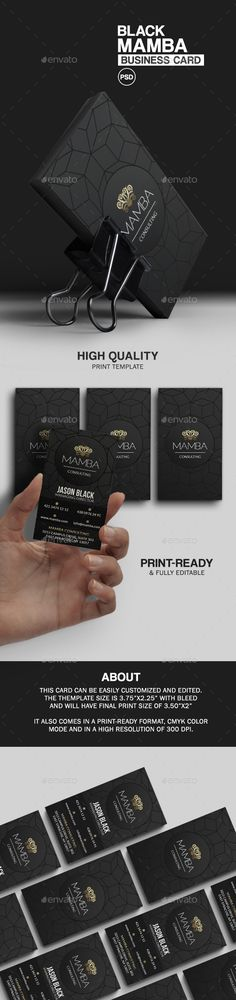 Black Mamba Business Card  — PSD Template • Only available here ➝…