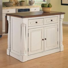 kitchen island DIY project - find dresser, add some details and new top (possibly hinge?)
