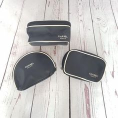 0a22bf44e114 3pcs set CHANEL Beaute Black Beige Makeup Bags Cosmetic Pouches VIP Gift