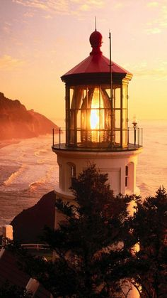 The burning light on top of lighthouse