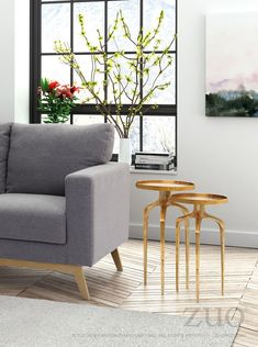 Cole Gold Accent Side Table Set
