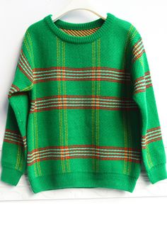 Green Long Sleeve Plaid Pullover Sweater