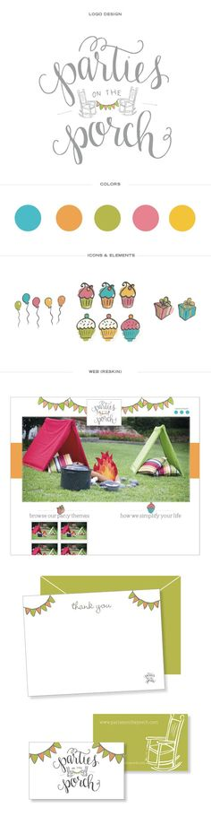 fun brand identity, kids parties, branding inspiration, colorful brand, calligraphy logo, party logo, website layout, party planning business website party planning color palette, Parties on the Porch — Doodle Dog Creative