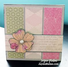 3x3 Thank You Card by Jayma Malme - with lucy paper pack and stamp...  but any flower stamp will do