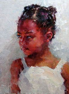 """Reluctant"" by Michael Maczuga  Painting of little mixed raced girl"