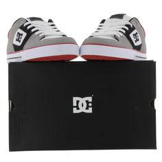 DC Shoes Mens Pure Trainers Grey Black Red