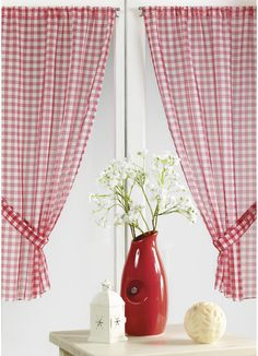 Paire Vitrage à carreaux rouges normands (Rouge) - Homemaison : vente en ligne petits voilages vitrages