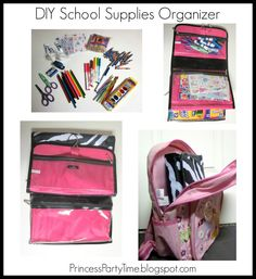 Diy back to school supplies organizer or art kit out of a cosmetic bag