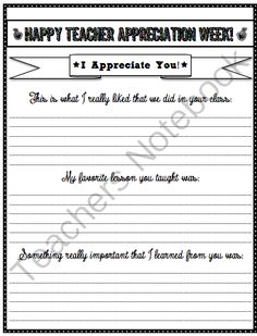 Teacher appreciation a note for your teacher free printable teacher appreciation writing from stuff students say and other classroom treasures on teachersnotebook 2 pages altavistaventures Gallery