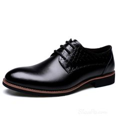 Shoespie Embossed Leather Lace Up Men's Spring Dress Shoes