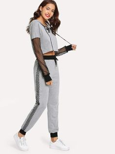 SheIn Fishnet Sleeve Lace Up Hoodie & Sweatpants Set - Kindermode Fashion News, Fashion Outfits, Woman Fashion, Fashion Fashion, Vintage Fashion, Satin Cami Top, Moda Casual, Two Piece Outfit, Clothing Co