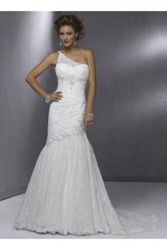 Mermaid style one strapped wedding dress by Diana