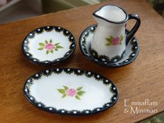 Gorgeous Hand-painted Black, White and Gold Miniature Jug and Basin Set - 12th Scale