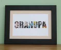 Personalised 'Grandpa' Photo Word Framed Print - £36.99 inc free delivery