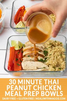 Have your meal prep complete in under 30 minutes with these Thai Peanut Chicken Meal Prep Bowls. The thai peanut sauce brings a harmonious flavor to the dish wi Lunch Meal Prep, Meal Prep Bowls, Easy Meal Prep, Healthy Meal Prep, Easy Healthy Recipes, Healthy Protein, Best Dinner Recipes, Lunch Recipes, Cooking Recipes
