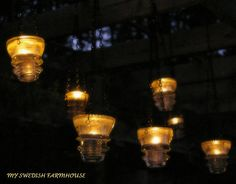 6 Hanging Electrical Insulator Candle Holders.  On ETSY