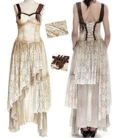 Robe longue gothique lolita steampunk dentelle sangles lacé vieilli vintage de451f8c297