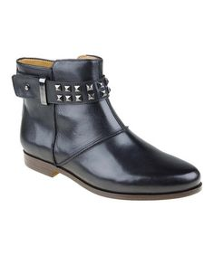 Look at this #zulilyfind! Black Studded Treano Leather Bootie by Earthies #zulilyfinds