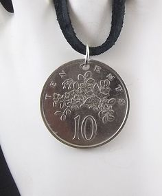 1982 Jamaican Coin Necklace 10 Cents Flower by AutumnWindsJewelry