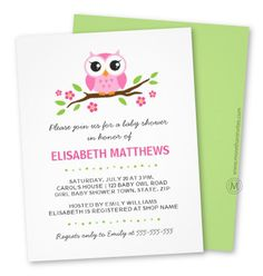 Cute girl baby shower invitation featuring a little pink cartoon owl sitting on a branch with green leaves and hot pink flowers. The back of the invite is green. Black and pink, customizable invite text. Cute design for mothers expecting girls. Also available in a twin and boy version. 4.25″ …