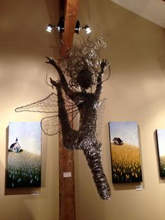 Dancing and flying wire fairies, metal art, Wire fairy sculpture. Breathtaking one of a kind stainless steel wire fairy sculpture. Wire Sculptures, Stainless Steel Wire, First Art, Heron, Faeries, Serenity, Fairy, Display, Gallery