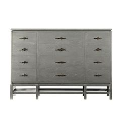 A stylish addition to your master suite or guest room, this wood dresser features 12 drawers and a distressed finish.   Product: