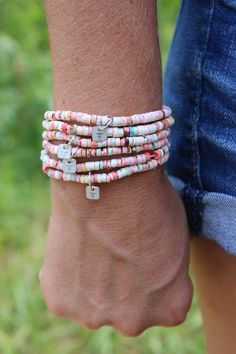 Eat Less Sugar Reminder Bracelet, Fierce Forward Armor, Weight Loss Healthy Jewelry, Shell Beads