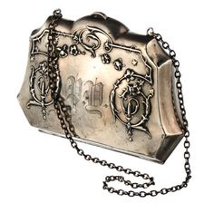 "1880s Purse with Chain, Victorian sterling silver purse. Front engraved with the initials ""P. Y."", $650                                                                                                                                                      More"