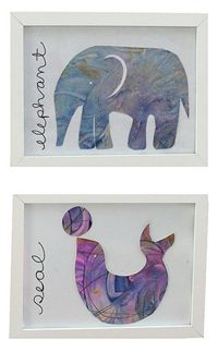 These are adorable! - Have children finger paint on card stock. When dry, use the template on this link to cut out an elephant, sparrow, or seal and put in a frame.