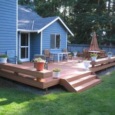 A great small deck design can be very versatile. Hidden fasteners lead to a clean looking deck surface. Floating benches add seating plus act as railing.