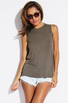 #1015store.com #fashion #style olive green laced x back muscle tee shirt-$10.00  X Marks The Spot. This Cute Olive Green Jersey Muscle Tee Is An Outfit Maker. The Laced X Detail On The Back Is Super Rocker Chic. Wear With Your Shorty Shorts And Put On Those Boots.