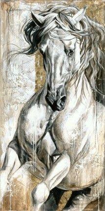 Reproductions giclées sur toile - giclée prints on canvas — Elise Genest Pretty Horses, Horse Love, Beautiful Horses, Painted Horses, Horse Pictures, Art Pictures, Horse Drawings, Art Drawings, Arte Equina