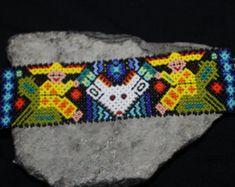Venado Huichol 3 3 Peyote abalorios pulsera de HHH por HuicholArte