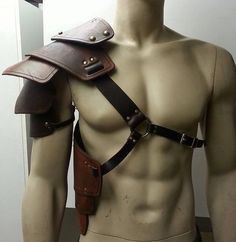 Sentinel segmented leather shoulder armor by SharpMountainLeather, $199.99