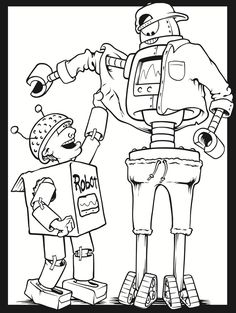Robot Buddies Stained Glass Coloring Book Dover Publications