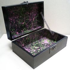 Items similar to Black, Pink & Green, Splatter Art, Memory/Keepsake Box on Etsy Splatter Art, Keepsake Boxes, Etsy Store, Pink And Green, Girly, Memories, Black, Lady Like, Souvenirs